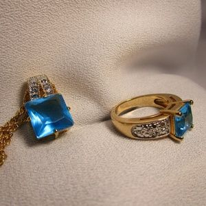 Gold and Silver Aquamarine Ring and Necklace Set
